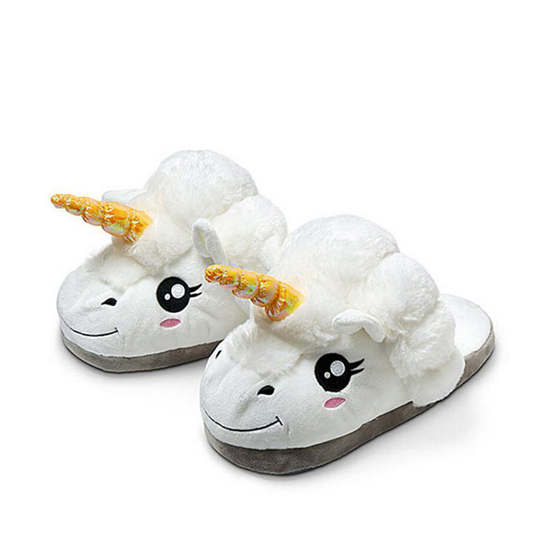цены Discount Cute 2017 Licorne Plush Shoes 1 Pair Free Size Unicorn Slippers for Grown Ups Winter Warm Indoor Carton Toy Slippers