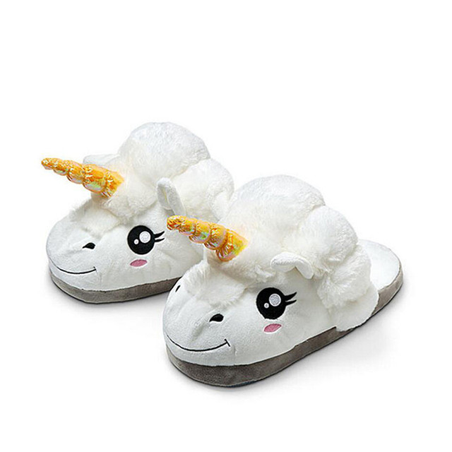 Discount Cute 2017 Licorne Plush Shoes 1 Pair Free Size Unicorn Slippers  for Grown Ups Winter Warm Indoor Carton Toy Slippers 2084804ea