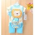 Marca New Baby meninas Roupas Set leão Animais meninos Bodysuits roupas de Bebe macacão bib pant meia t-shirt