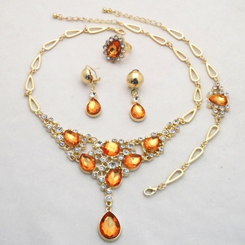 Новое поступление шампанского Crystal Gold Цвет Ювелирные наборы женщина комплект ювелирных изделий