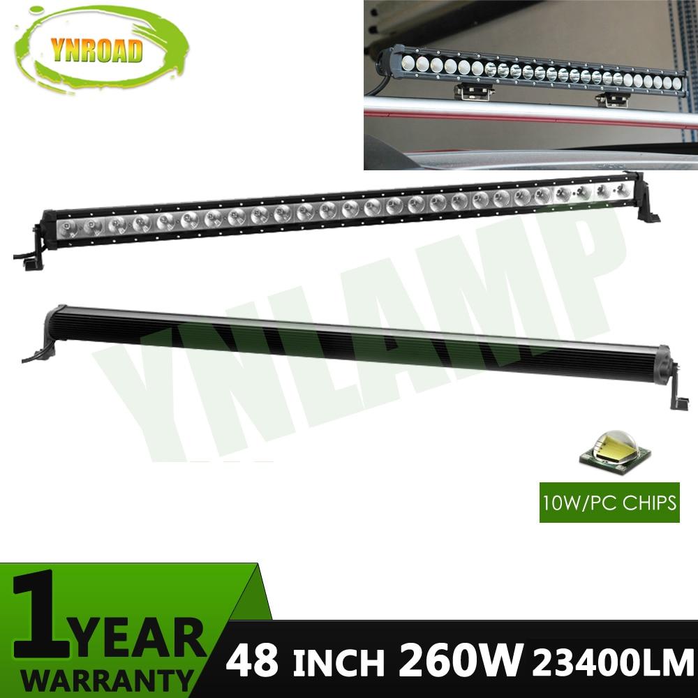YNROAD 260w 48-palcová jednořadá LED světelná lišta Pracovní světlo Jízda Offroad Light Spot / povodeň / combo 23400lm 10V- 30V pro ATV SUV IP67