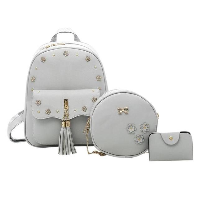 aa2ced57c9 3pcs Set Autumn Winter Women PU Flowers Backpack Shoulder Chain Round Card Fashion  Backpack For Teenagers Girls School bags. SPECIAL BLACK FRIDAY PRICE