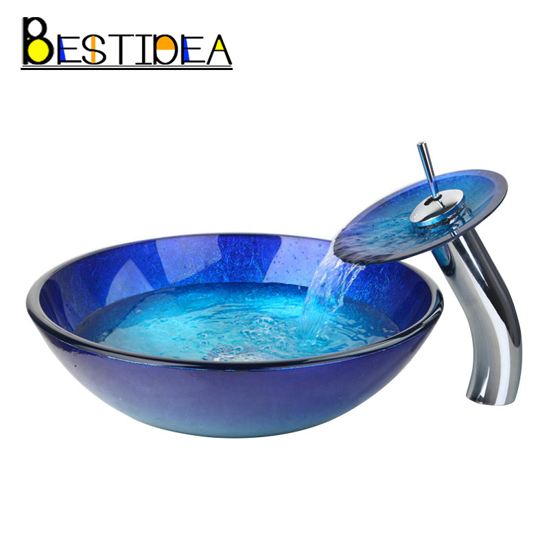 Artist Tempered Glass Bathroom Designer Vessel Sink Basin Bowl Faucet Set With the Pop Up Drain &Mounting Ring