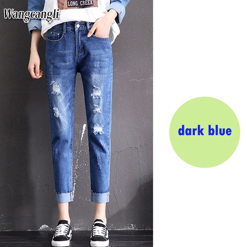 Fashion Large size women's denim nine pants 2018 spring and summer high waist hole 5XL Blue women's elastic feet pants 015#