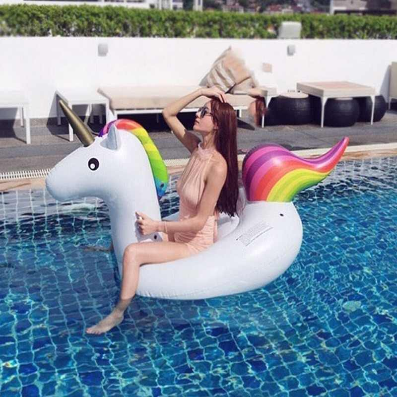 200CM Inflatable Unicorn Pool Float Boia Piscina Swimming Ring Swim Float Pool Party Inflatable Unicorn flotador unicornio Boias