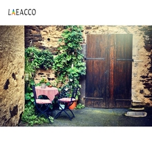 Laeacco Old Wall Wood Door Vine Retro Baby Portrait Photography Backgrounds Customized Photographic Backdrops for Photo Studio