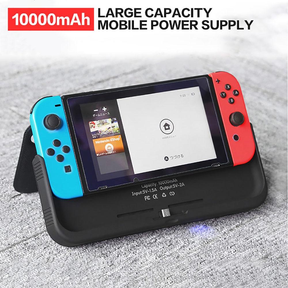 10000 mAh chargeur de batterie étui pour support de commutateur de Nintendo support de support en cuir NS pour Nintendo Switch housse de batterie portative cadeaux - 2