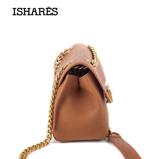 2017 ISHARES genuine natural leather crossbody chain bags for women mini cute bag ladies cowhide leather fashion handbag IS7519