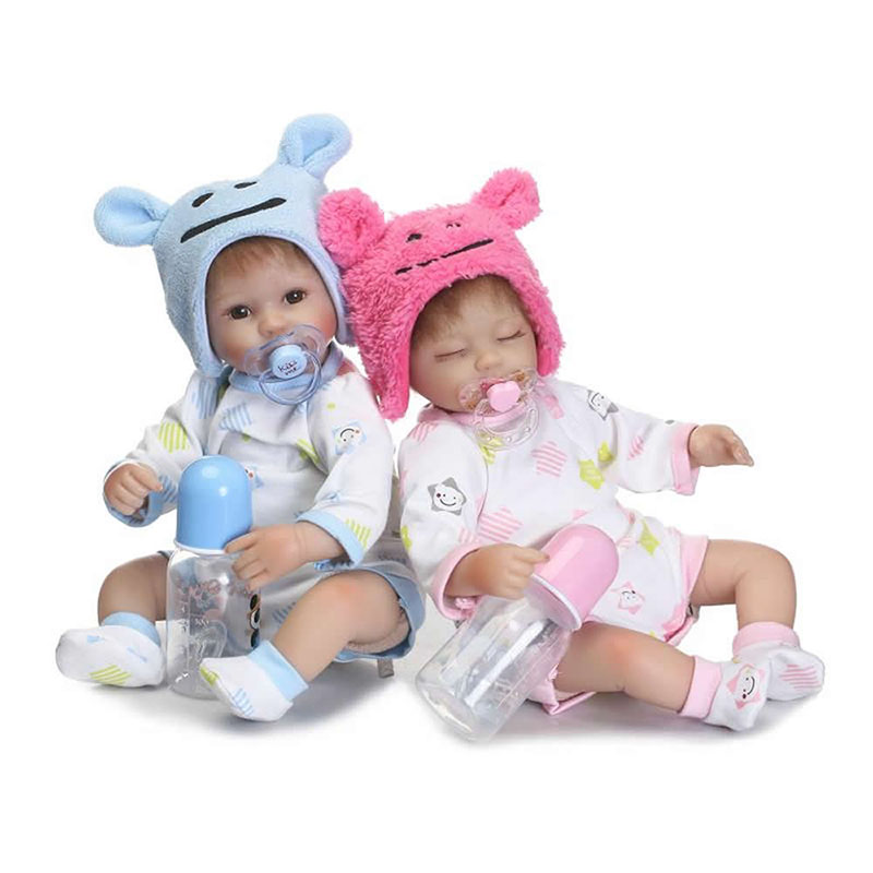 New 17 Inch Twins Reborn Baby Doll Soft Silicone Baby Alive Dolls Boy and Sleeping Girl Kids Birthday Xmas Gifts Free Shipping hot sale 2016 npk 22 inch reborn baby doll lovely soft silicone newborn girl dolls as birthday christmas gifts free pacifier