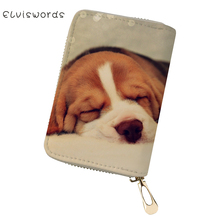ELVISWORDS Cute Dogs Printed Card Holder Travel Id Cases for Girls Ladies Pochette Passport Cover Women Bags Feminina