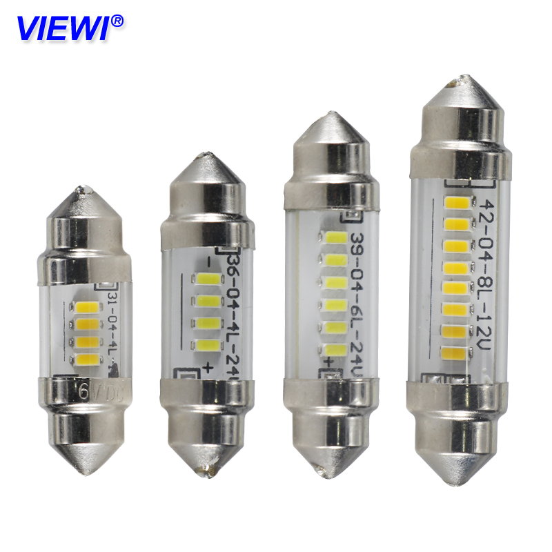 Viewi Car Inside LED Festoon Bulb lights 31mm 36mm 39mm 42mm C3W C5W C10W 6v 12v 24v Auto Interior Dome light Reading Map Lamp image