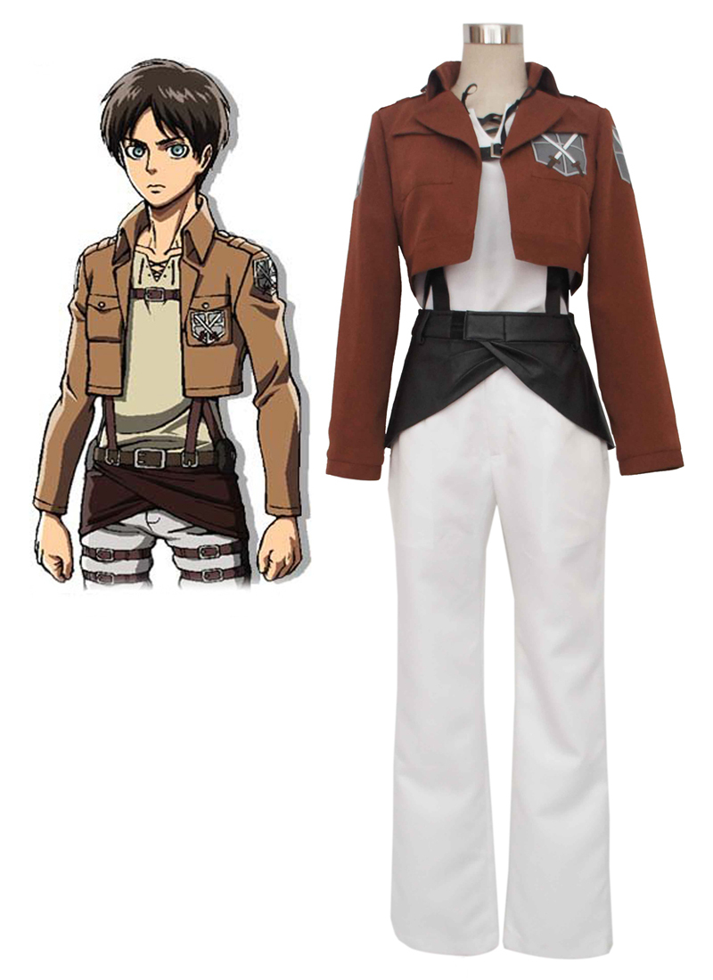 Free Shipping Attack on Titan Eren Jaeger Trainee Class Boy's Uniform Anime Cosplay Costume