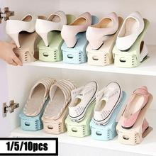 1/5/10pcs Durable Adjustable Shoe Organizer Footwear Support Slot Space Saving Cabinet Double Living Room Rack Stand Shelf