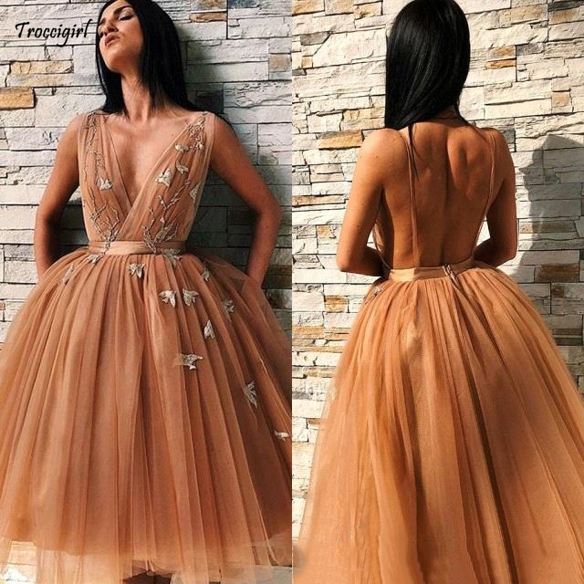 2019 Tulle Homecoming   Dresses   Applique Tulle A Line Sexy Spaghetti Sleeveless   Cocktail     Dress   Backless Formal Party Gowns