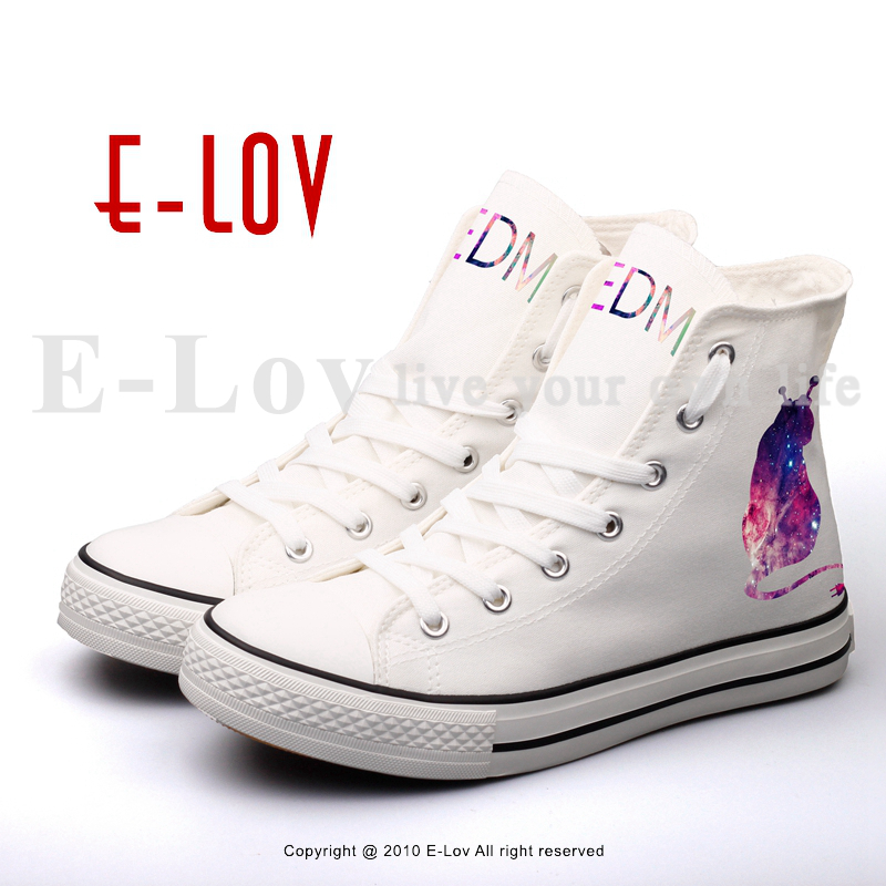 E-LOV Customized DJ Music Logo Printed Canvas Shoes High Top Unisex Casual Flat Shoes Couples Lovers Design For Valentine Gifts e lov unique design taurus horoscope luminous canvas shoes women diy graffiti couples lovers casual flats zapatillas mujer