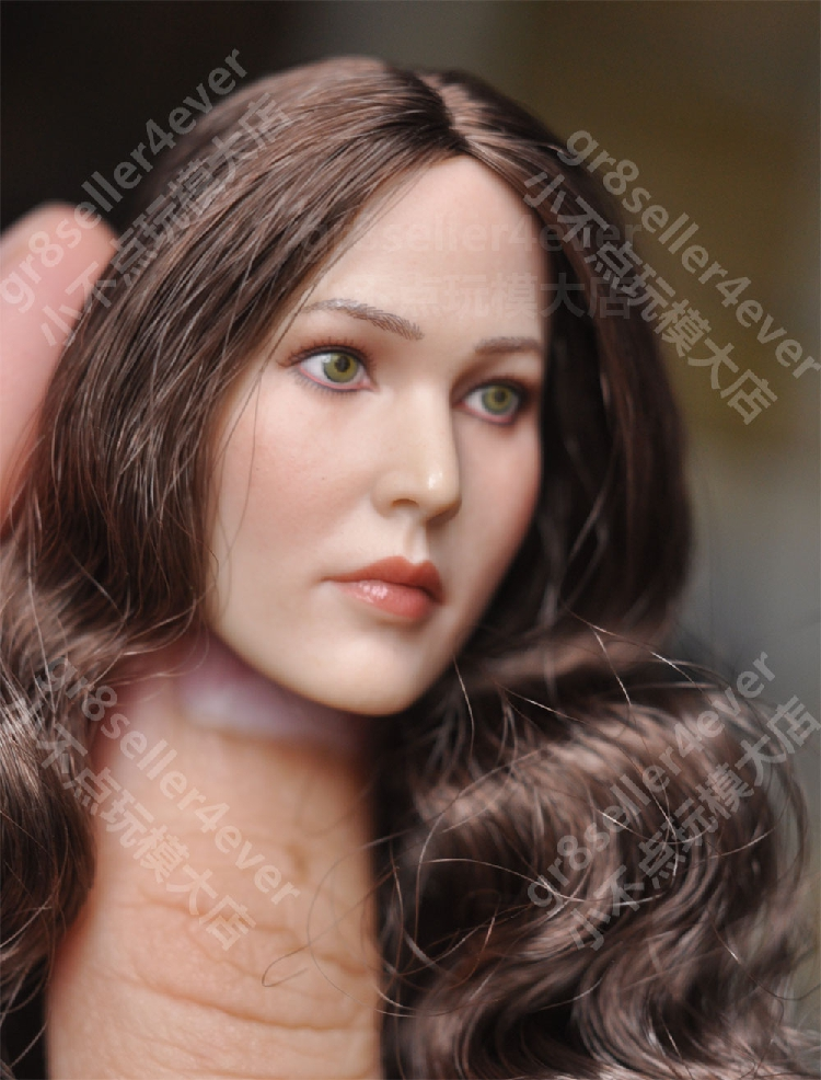 """1//6 Female Head Sculpt cheveux bouclés E Pour 12/"""" figure féminine poupée PHICEN"""