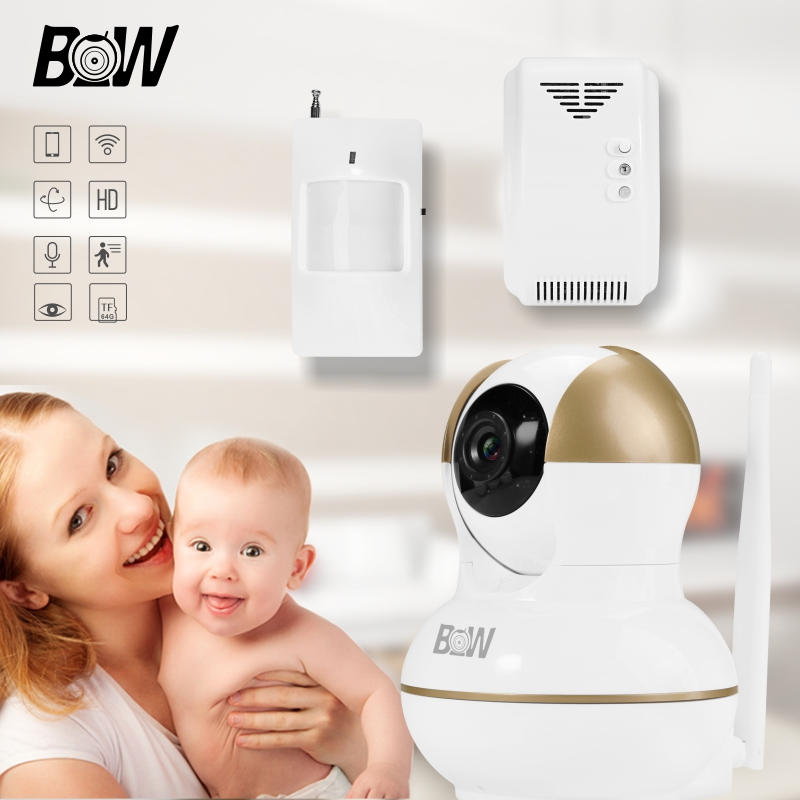 HD 720P Camera Baby Monitor Onvif IP Camera + PIR Motion Sensor/Gas Detector Mini Wifi Camera Home Alarm Security System BW12G wireless security camera wifi motion sensor ip baby monitor door sensor gas detector video surveillance alarm system bw12y