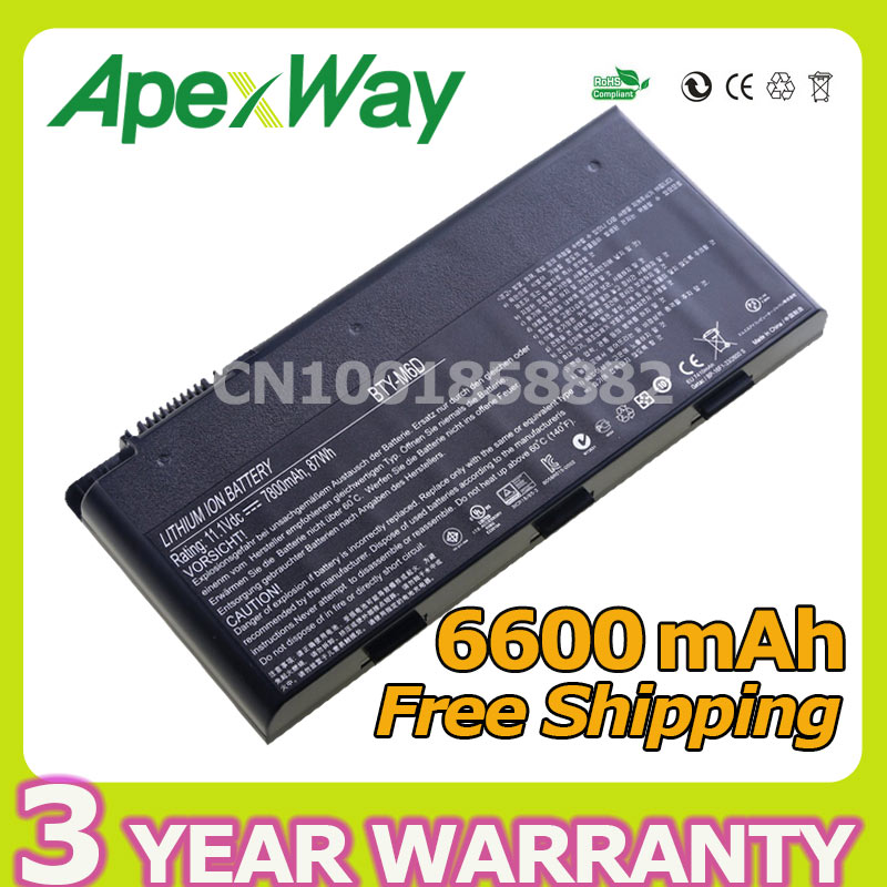 Apexway 6600mAh 9 Cells Laptop Battery BTY-M6D For MSI GT783H GX660 GX660DX GX70H GX780R GT70 GT760 GT60 цена