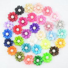 Yundfly 10pcs Chic Satin Ribbon Flower with Faux Pearl For Baby Girls Hair Accessories Fabric Flowers DIY Headbands