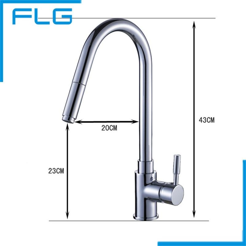 Brass Sink Chrome Kitchen Faucet Handles Pull Out Hot Cold Mixer Water Tap Deck Mounted Kitchen Faucets kitchen chrome plated brass faucet single handle pull out pull down sink mixer hot and cold tap modern design
