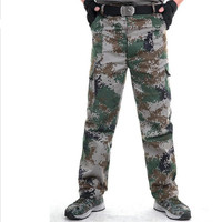 Men Tactical Military Pants US Army Combat Cargo Pants Mens Outdoor Army Green Camouflage Loose Working