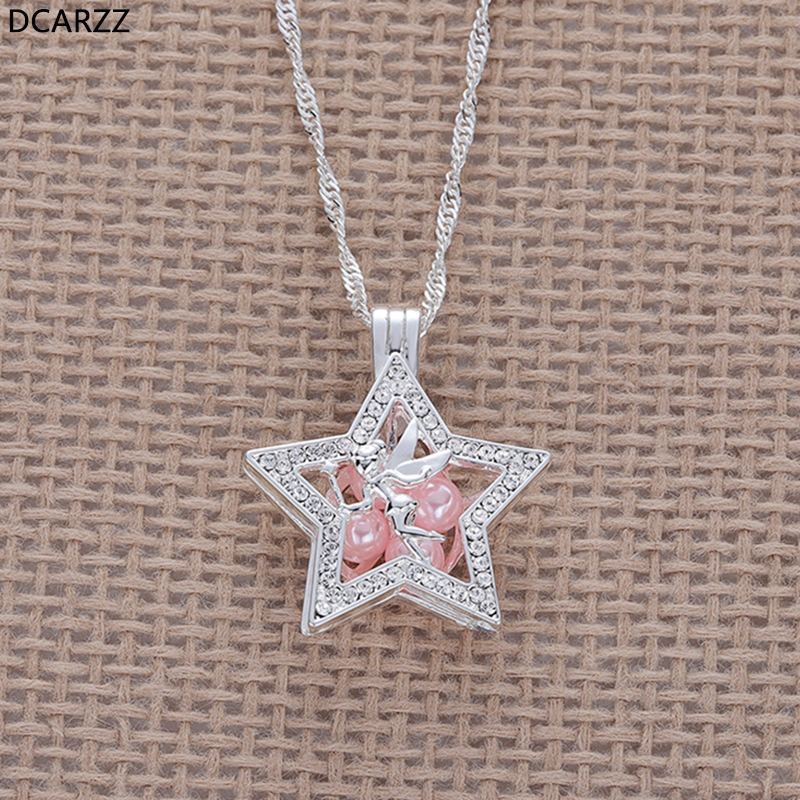 Tinkerbell Pixie Dust Peter Pan Pendant Tinker Bell Pearl Cage Crystals Band Star Necklace Girls Gift
