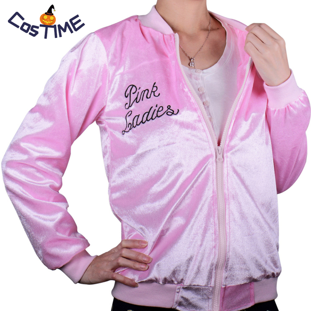 efa0c9666f2 Women s Grease Pink Ladies Velvet Jacket Lightweight Bomber Jacket Retro  50s Disco Costume Hen Party Fancy Dress Plus Size