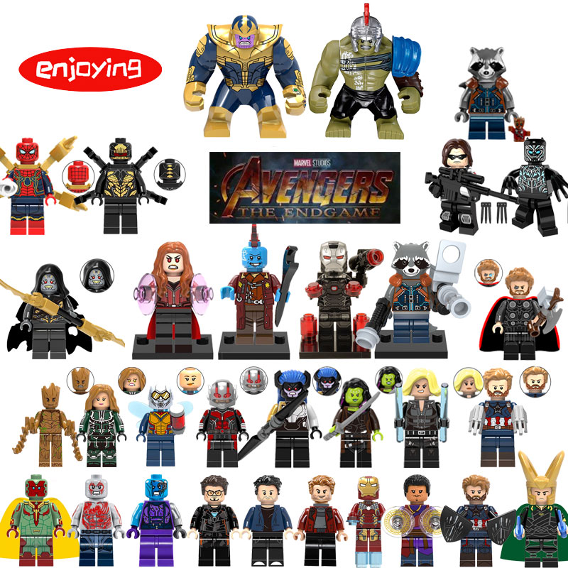 Avengers 4 Spiderman Figures Black Widow Rocket Raccoon Hulk Thor LEGOing Anime Marvel Building Blocks Gifts Toys for Children
