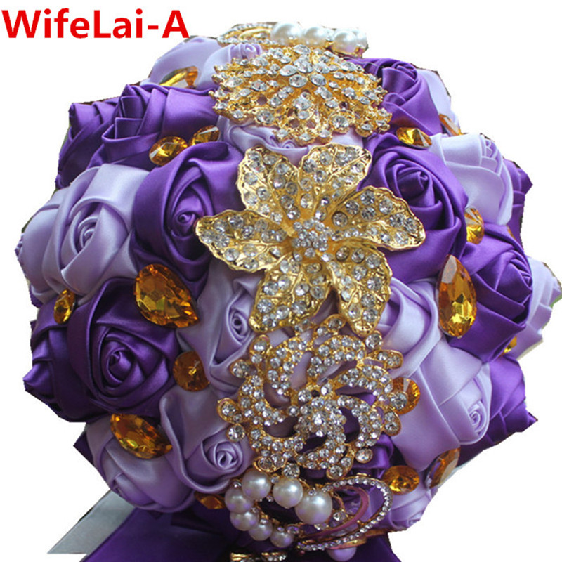 Punk Purple Gold Brooch Bridal Hand Holding Flower Bouquets Silk Bridesmaid Crystal Wedding W227 Multi Colors In From