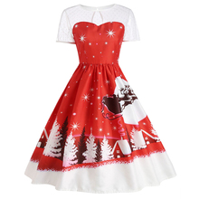 New Year Women's Short Sleeve See-through Lace Dress Open Back Hole Dress Printed with Christmas Elements Oct23