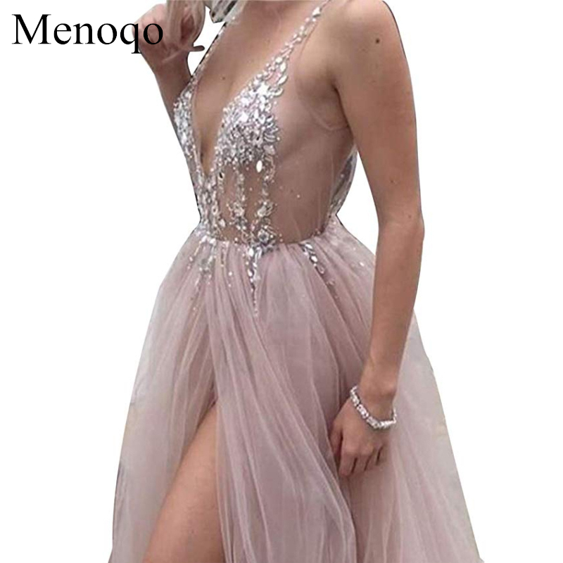 Sexy Tulle Long Prom Dresses 2019 New Arrival Backless Sweep Train Beaded A Line Special Occasion Evening Gowns Custom Made