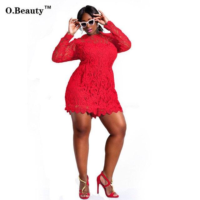 Bordado Calado de encaje Mamelucos Para Mujer Sexy Bodycon de Manga Larga Rojo Trajes Para Mujeres Trajes Plus Tamaño Clubwear Jumpsuit