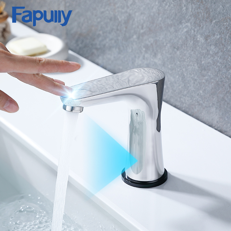 Fapully New Design Smart Touch Control Basin Faucets Chrome Brushed Sensor Sensitive Bathroom Faucet Tap 1052