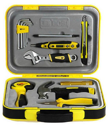Hardcover Metric 15pcs Home Owners Tool Set Family Portable w ABS Box