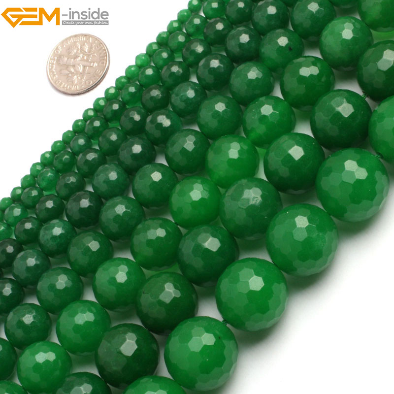Gem-inside  6-18mm Round Stone Beads Faceted Dark Green Jade Beads For Jewelry Making Beads 15inches DIY BeadsGem-inside  6-18mm Round Stone Beads Faceted Dark Green Jade Beads For Jewelry Making Beads 15inches DIY Beads