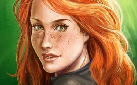 Can suggest Red hair freckles green eyes