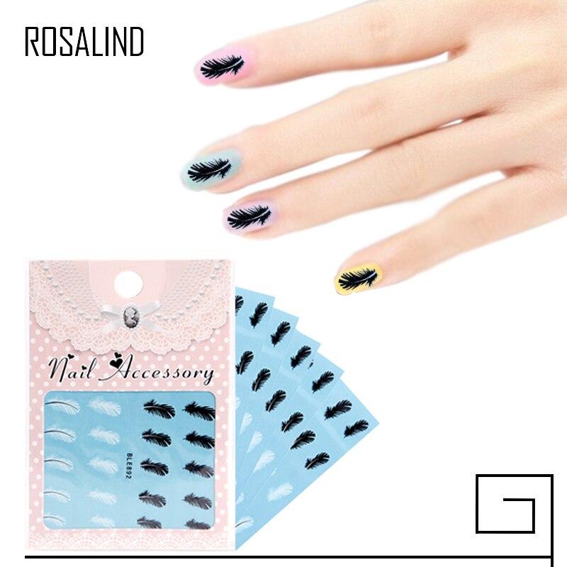 ROSALIND 1Bag Black & White Feather Nail Art Decals Nail