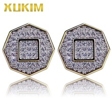 Xukim Jewelry Fashion Iced Out Gold Color Octagon Stud Earrings Full Zircon Punk Hip Hop Gift Rapper Party Accessories