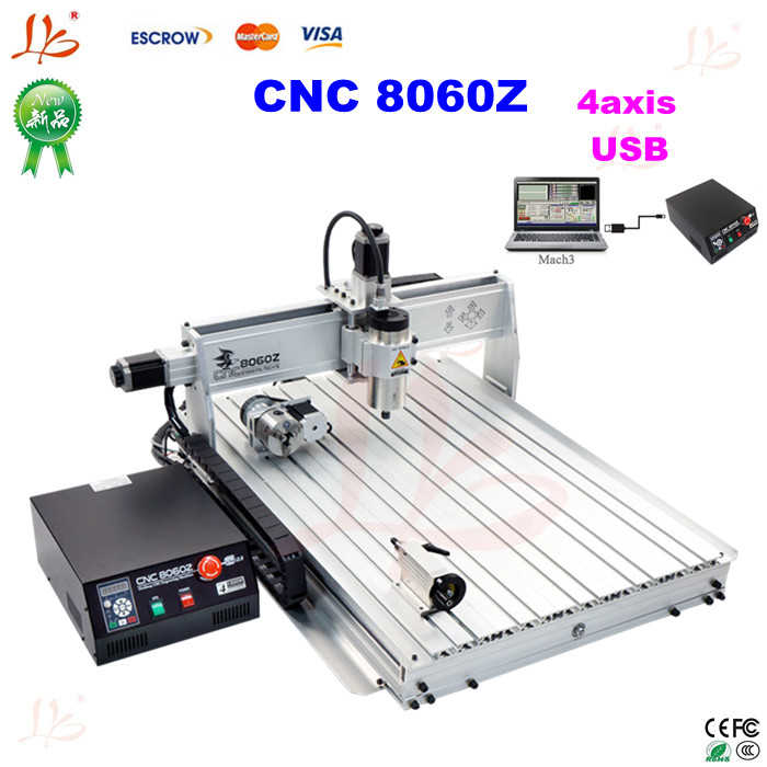 4 axis cnc router 8060Z-USB1500W mini cnc milling machine cnc 5axis a aixs rotary axis t chuck type for cnc router cnc milling machine best quality