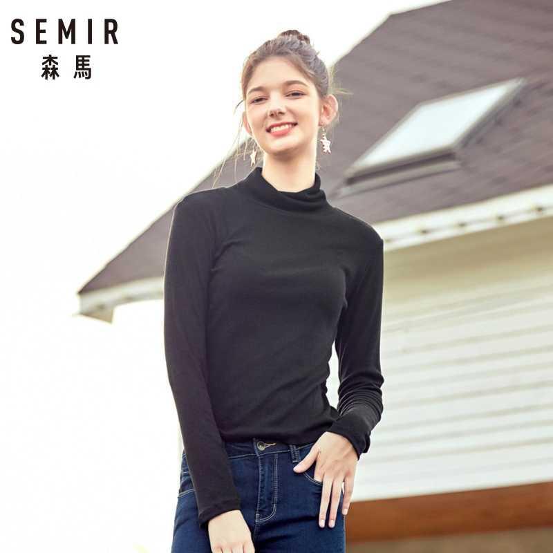 SEMIR 2020 가을 겨울 캐시미어 스웨터 여성 풀오버 높은 칼라 터틀넥 스웨터 여성 솔리드 레이디 기본 스웨터