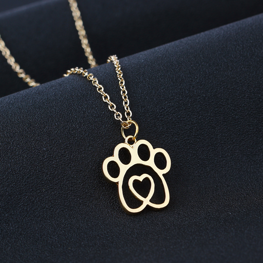 Lovely Hollow Pet Paw Footprint Love Heart Pendant Chain Necklace Animal Rescue Dog Cat Loves Necklaces Women Girls Jewelry Gift ...