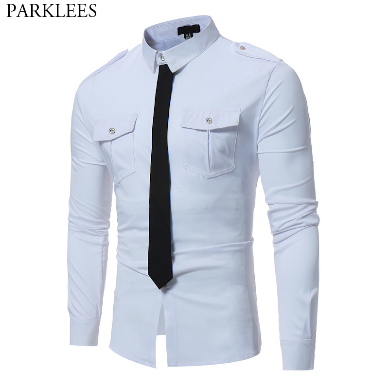 Double Pocket White Shirts Men 2018 Brand New Military Style Long Sleeve Chemise Homme Casual Slim Fit Hit Color Camisa Social