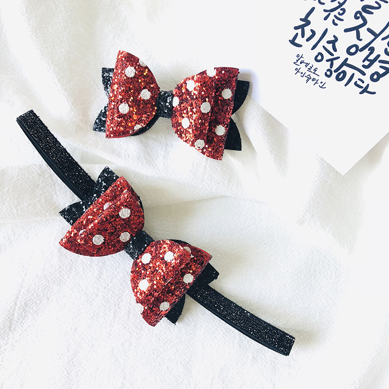Red and Black Glitter Bow for Hair Bow for Baby