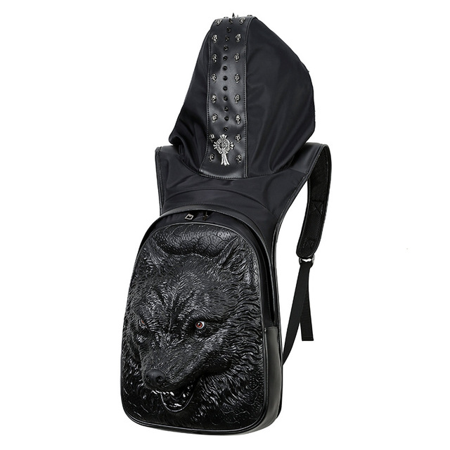 Men's Werewolf Hooded Backpack Large Male Black Gold Silver 3D Wolf Head Design Printing Backpack With Hood Fashion Casual Bags 1