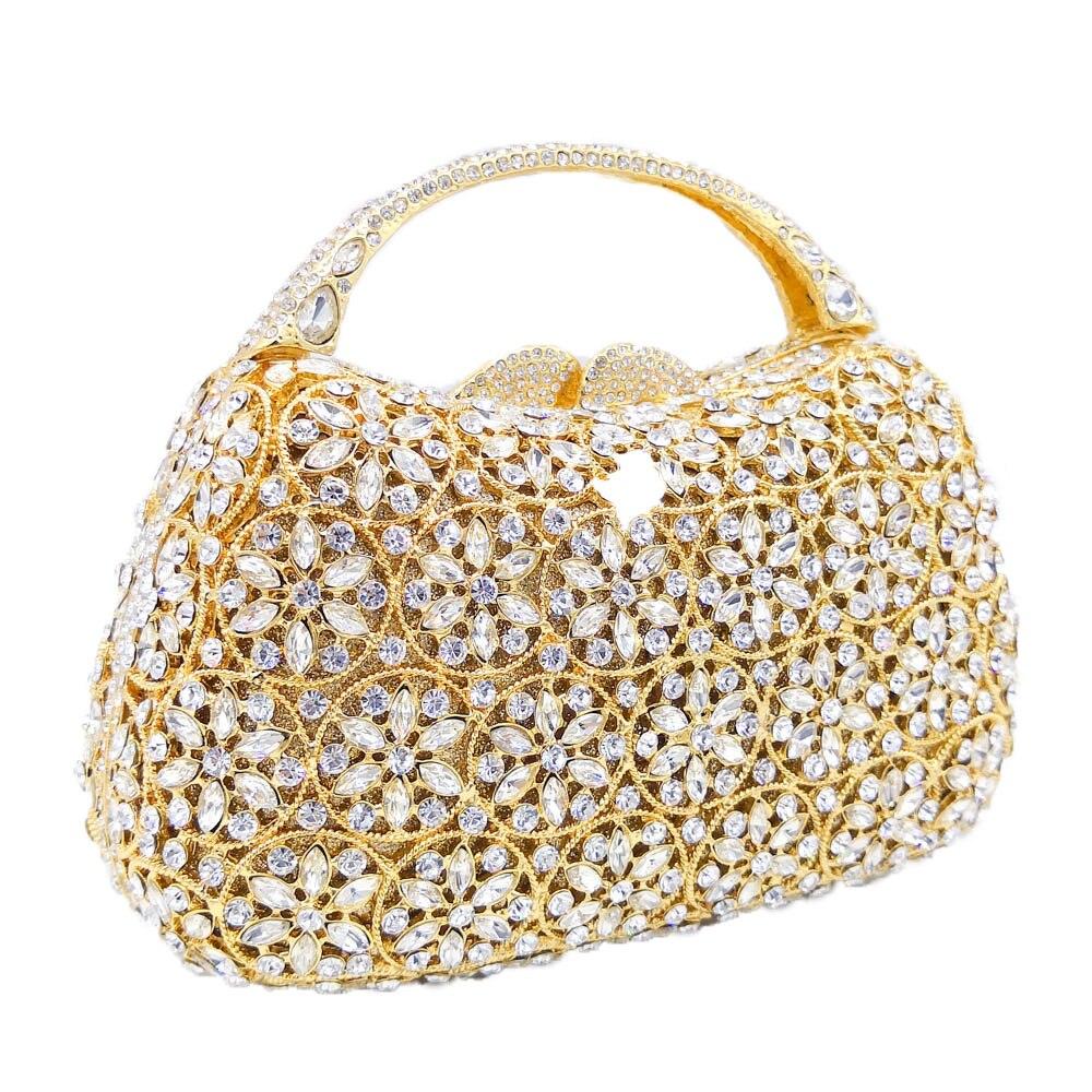 Boutique De FGG deslumbrante Snow Hollow Out mujeres Top Handle Crystal noche bolsos boda embrague Minaudiere bolsos y monederos-in Bolso de noche from Maletas y bolsas    3