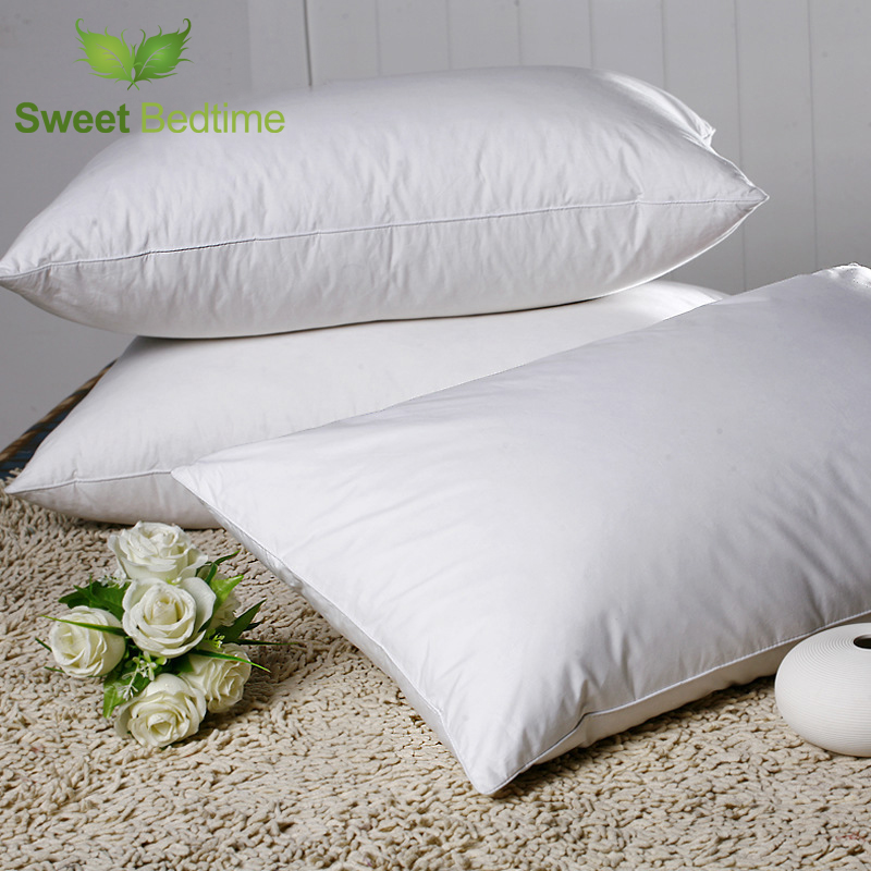 cotton fabric white goose feather soft neck health pillow inner rectangle 1pc european