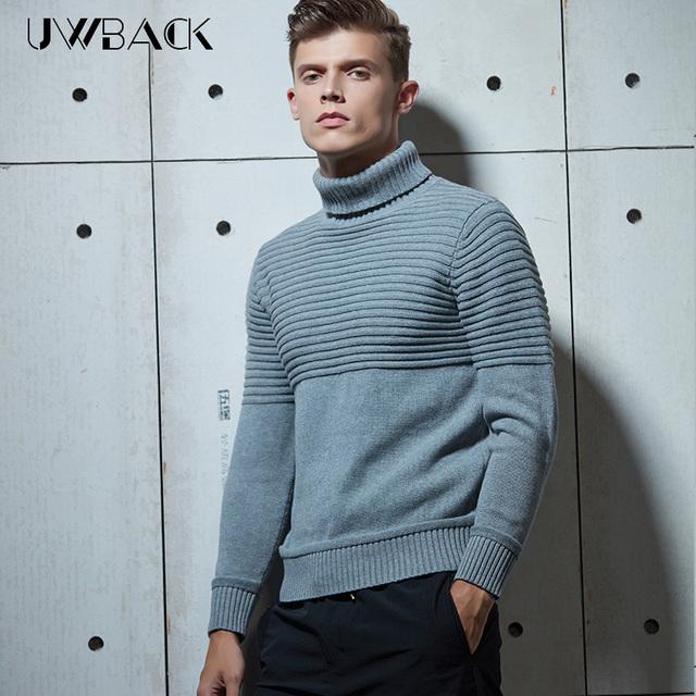 Uwback 2017 nova primavera pulôveres de gola alta homens da moda malha de lã suéter listrado homem caa357 asiático tamanho camisolas de alta qualidade