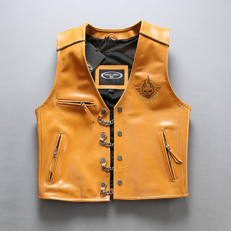 Harley Angle 2019 Men's Genuine Leather Motorcycle Vest Yellow Back 3D Skull Punk Thick Cowhide Vest Bomber Sleeveless Jacket