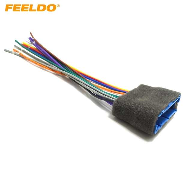 FEELDO 1Pc Car Radio Audio Stereo Wiring Harness Adapter Plug For
