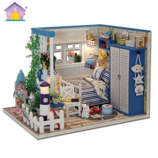 3d Diy Cute Blue Room Wooden Miniature Doll House Furniture Toy